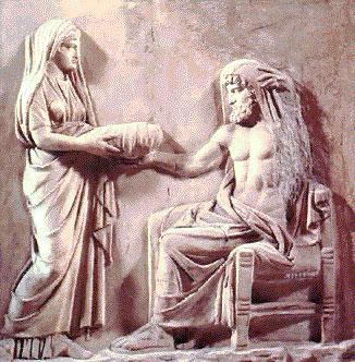 Diz a lenda grega que Cronos, o deus do tempo, devorava os filhos recém-nascidos para não ser destronado. Zeus escapou porque sua mãe o escondeu e enrolou uma pedra nos cueiros do bebê, oferecendo a pedra à Cronos.